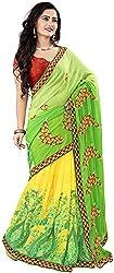 Jay Ambe Creation Women's Georgette Saree (san1003, Green & Yellow)