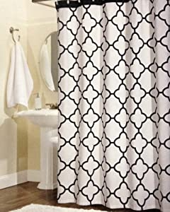 100 percent cotton shower curtain moroccan tile quatrefoil off white gray lattice 72 inch by 72. Black Bedroom Furniture Sets. Home Design Ideas