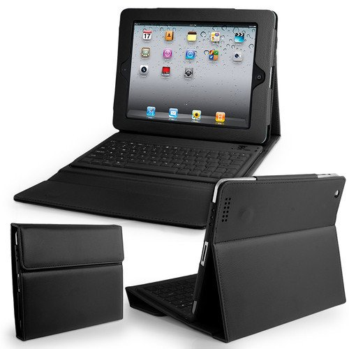 Bluetooth Wireless Keyboard With Leather Case Stand Cover Ipad 1 2Nd 3Rd Generation (Black)