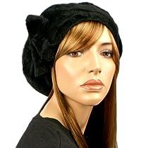 Super Soft Angora Ribbon Bow Warm Knit Winter Beret Tam Beanie Hat Cap Black