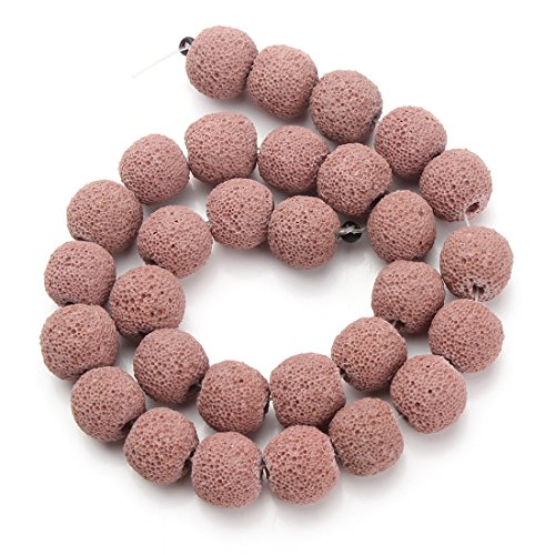 Linsoir beads light brown round volcano lava rock loose for Brown lava rock for landscaping