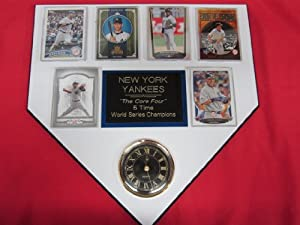 New York Yankees CORE FOUR 6 Card Collector HOME PLATE Clock Plaque EXCLUSIVE DESIGN... by J & C Baseball Clubhouse