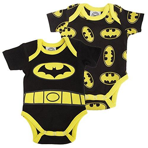 Batman Ufficiale - Body a Manica Corta in Cotone (confezione da 2) - Neonati/Bambini (0-3 mesi) (Nero/Giallo)