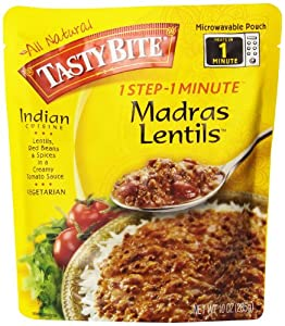 Tasty Bite Madras Lentils Entree, Heat & Eat, 10-Ounce Boxes (Pack of 6)