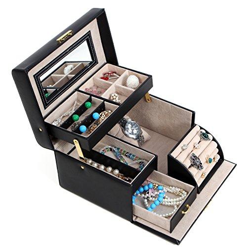 SONGMICS Girls Jewelry Box Lockable Jewelry Organizer Mirrored Storage Case Black UJBC114