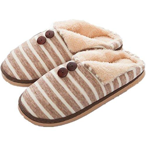 Minetom Uomo Donna Inverno Pantofole Di Cotone Arco Calde Unisex Slipper Banda Coperta Pantofole Caffè EU 41