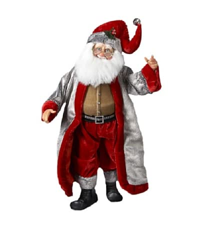 Kurt Adler 19 Jacqueline Kent Rich Silver and Red Standing Santa As You See