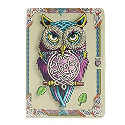 Galaxy Tab S2 9.7 inch Wallet Case, PU Leather Folio Flip Cover, DobbyTech [Card /Money Slot] [Inner Silicone TPU Holder] [Kickstand Feature] for Galaxy Tab S2 9.7 inch (Colorful Owl)