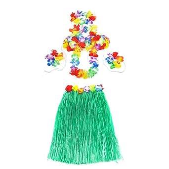 5pcs Set Hawaiian Grass Skirt Flower Hula Lei Garland Dress Costume (Green)