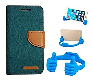 Aart Fancy Wallet Dairy Jeans Flip Case Cover for MotorolaMotoE2 (Green) + Flexible Portable Mount Cradle Thumb OK Designed Stand Holder By Aart Store.