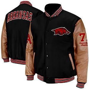 NCAA Arkansas Razorbacks Varsity Letterman Button-Up Jacket - Black Tan by Colosseum