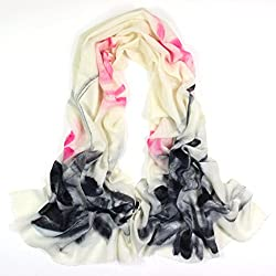 Olina Women's High-Grade Elegant Hand Painted 100% Pure Wool Scarf Shawl (Chinese Ink Painting Lotus)