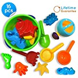 Baby Beach Toys, Toy Icon 16-piece Set Sand Bath Tub-toys With Convenient Zippered Bag Creates Fun F