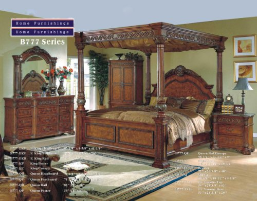 Inland Empire Furniture California King Size Makayla Brown Solid Wood Italian Marble Canopy