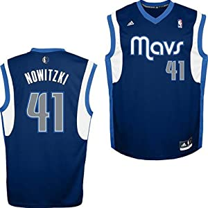 NBA Dallas Mavericks Dirk Nowitzki #41 Youth Replica Alternate Jersey, Navy, Small
