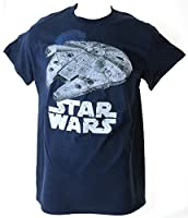 Star Wars Retro Millenium Falcon Death Star Adult Navy T-Shirt