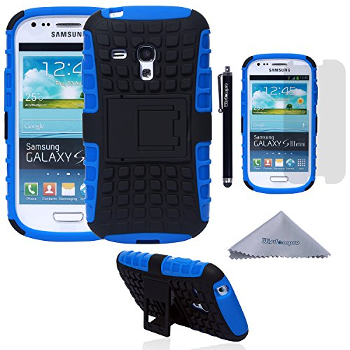 S3 Mini Case, Wisdompro [2 Piece in 1] Dual Layers [Heavy Duty] Hard Soft Hybrid Rugged Protective Case with [Foldable Kickstand] for Samsung Galaxy S3 Mini (NOT S3 Fit) - Blue / Black (Phone Case Samsung Galaxy S3 Mini compare prices)