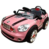 12V 2 MOTORS 2 WHEEL DRIVE NEW DESIGN KIDS RIDE ON MINI COOPER STYLE RECHARGEABLE ELECTRIC CAR + parental remote control + soft leather seat + battery capacity indicator + mp3 input + music volume control, available in colour pink, blue and red.