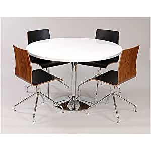 Round Dining Table 4 Ruby Leather Chairs White High Gloss Becky