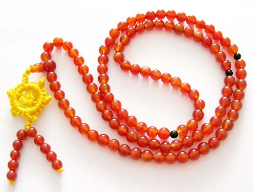 108 Red Agate Beads Buddhist Prayer Rosary Japa Mala Necklace