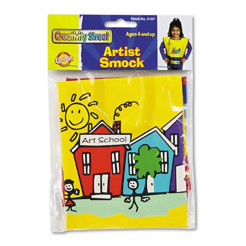 Chenille Kraft® - Kraft Artist Smock, Fits Kids Ages 3-8, Vinyl, Bright Colors - Sold As 1 Each - Vinyl sleeveless smock, protects clothing.