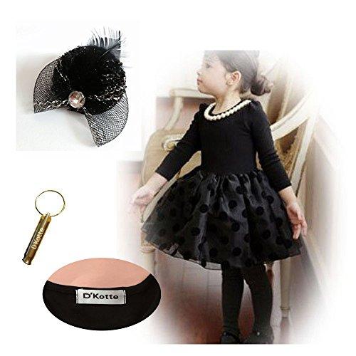(ディーコッテ) D'Kotte 帽子のクリップ ホイッスル パール 真珠 ネックレス フォーマル ワンピース キッズ 子供 女の子 礼服 セレモニー ドレス (130cm)