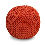 Orange Knitted Pouffe Footstool - 100% Cotton