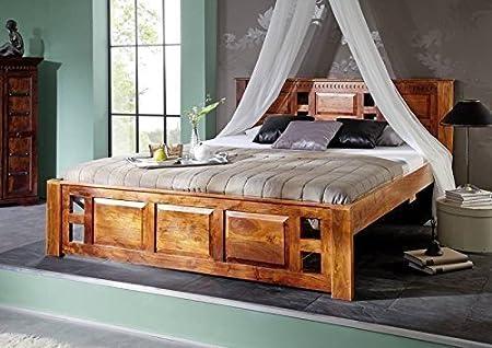 OXFORD Bett Classic #0252 Akazie honig massiv Kopfteil mit Lochmuster - Akazie honig 160x200