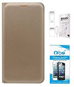 TBZ PU Leather Flip Cover Case for LYF Water 10 with Nossy Sim Adaptor and Tempered Screen Guard -Golden