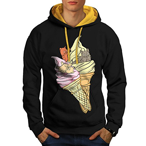Kitten Ice Cream Food Fashion Men NEW Black (Gold Hood) XL Contrast Hoodie | Wellcoda Creamy Nectarine