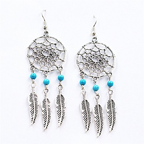 Generic Dreamcatcher Earrings Alloy Feather Tassel Earrings Mini Turquoise Earrings