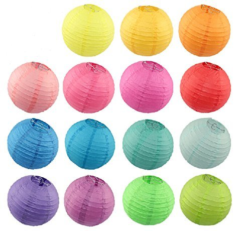 """Liroyal 8 Assorted (Different) Color Chinese/Japanese Paper Lanterns/Lamps 16"""" Diameter"""