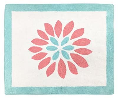 Accent Floor Rug for Modern Turquoise and Coral Emma Kids Bedding Collection