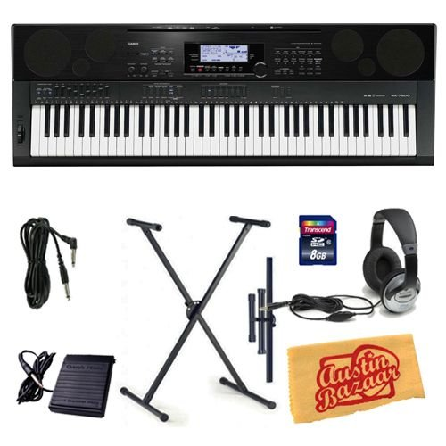 Casio WK-7500 Workstation Keyboard Bundle with Keyboard Stand, 8 GB SD Card, 10-Foot Instrument Cable, Sustain Pedal, Headphones, and Polishing Cloth