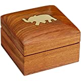 Wooden Jewelry Box for Bracelets Elephant Charm Gift for Her, 3x3x2 Inches