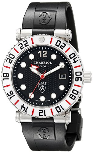 Charriol Rotonde GMT RT42GMTW.142.G01 42mm Stainless Steel Case Black Rubber Synthetic Sapphire Men's Watch