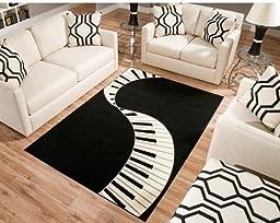 Terra Piano Rectangle Area Rug Black/White 3\'9\