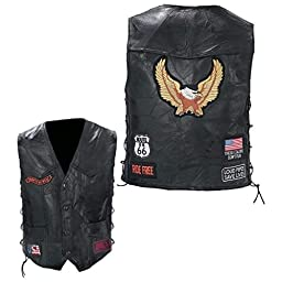 Diamond PlateTM Rock Design Genuine Buffalo Leather Biker Vest (X-Large/Black)