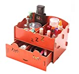 Kobwa(TM) Orange Multi Compartments Mini Sleep Soundly Desktop Drawer Box Organizer Wood DIY Desk Storage with Kobwa's Keyring