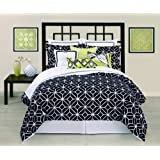 Trina Turk 3-Piece Trellis Comforter Set, King, Black/White