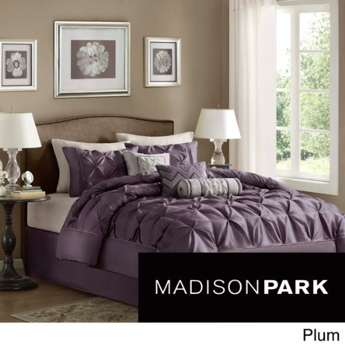 Madison Park Vivian Polyester Solid Tufted 7-Piece Comforter Set, Plum Size Cal King front-1073598