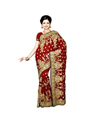 Fancy Dashing Maroon Colored Embroidered Faux Georgette Saree By Triveni