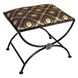 Grace Arcadian Arch Wrought Iron Bench 20in Lost City Fabric Satin Black Finish