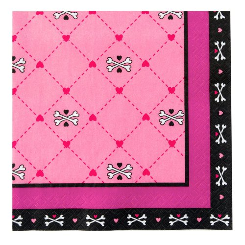 Pink Skull Lunch Napkins (16) - 1