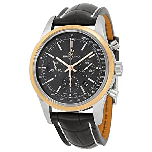 Breitling TransOcean Chrono Black Dial Brown Leather Mens Watch UB015212-BC74BKCT