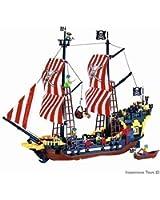 Jouet Bateau Pirate Grand 870 Pièce 8 Figurine Pirate Mer Caraibes Compatible Bloc Construction (308)