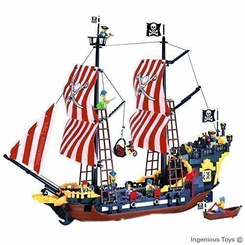 Costruzione 870 pezzi Riproduzione Nave Pirati Grande compatibile (308)