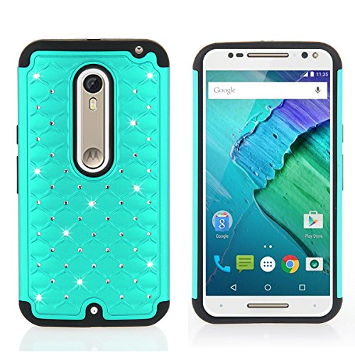 Moto X Pure Edition Case, Motorola Moto X Style Case, 2 in 1 Rhinestone Bling Hybrid Black Soft Silicone Interior and Mint Hard PC Exterior Shield Slim Lightweight Armor Defender Protective Case