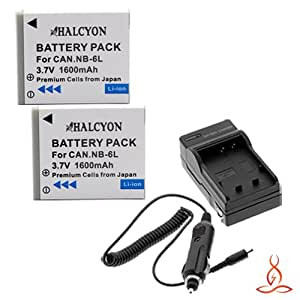 Two Halcyon 1600 mAH Lithium Ion Replacement Battery and Charger Kit for Canon NB-6L and Canon PowerShot D10, D20, Elph 500 HS, S90, S95, S120, SD1200 IS, SD1300 IS, SD3500 IS, SD4000 IS, SD770 IS, SD980 IS, SX260 HS, SX500 IS, SX510 IS, SX170 IS, SX280 HS Digital Cameras