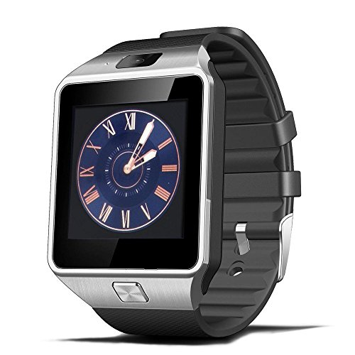 Airsspu Tm Bluetooth Smart Watch Wrist Watch Phone with Camera Touch Screen Mate for Samsung Iphone Smartphones (Silver)